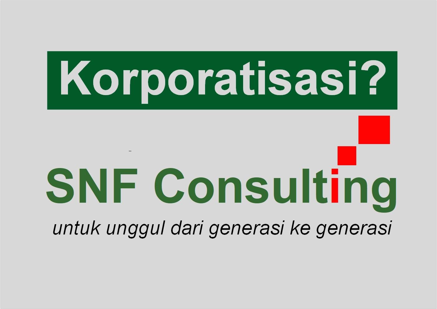 Logo SNF Consulting dengan tag line korporatisasi