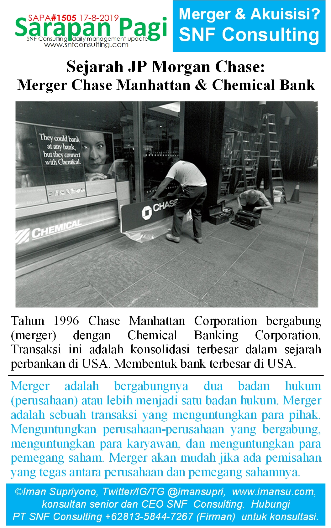 SAPA1505 Sejarah JP Morgan Chase merger chase manhattan n chemical banking