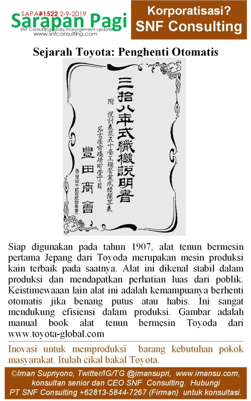 SAPA1522 Sejarah Toyota Toyoda penghenti otomatis