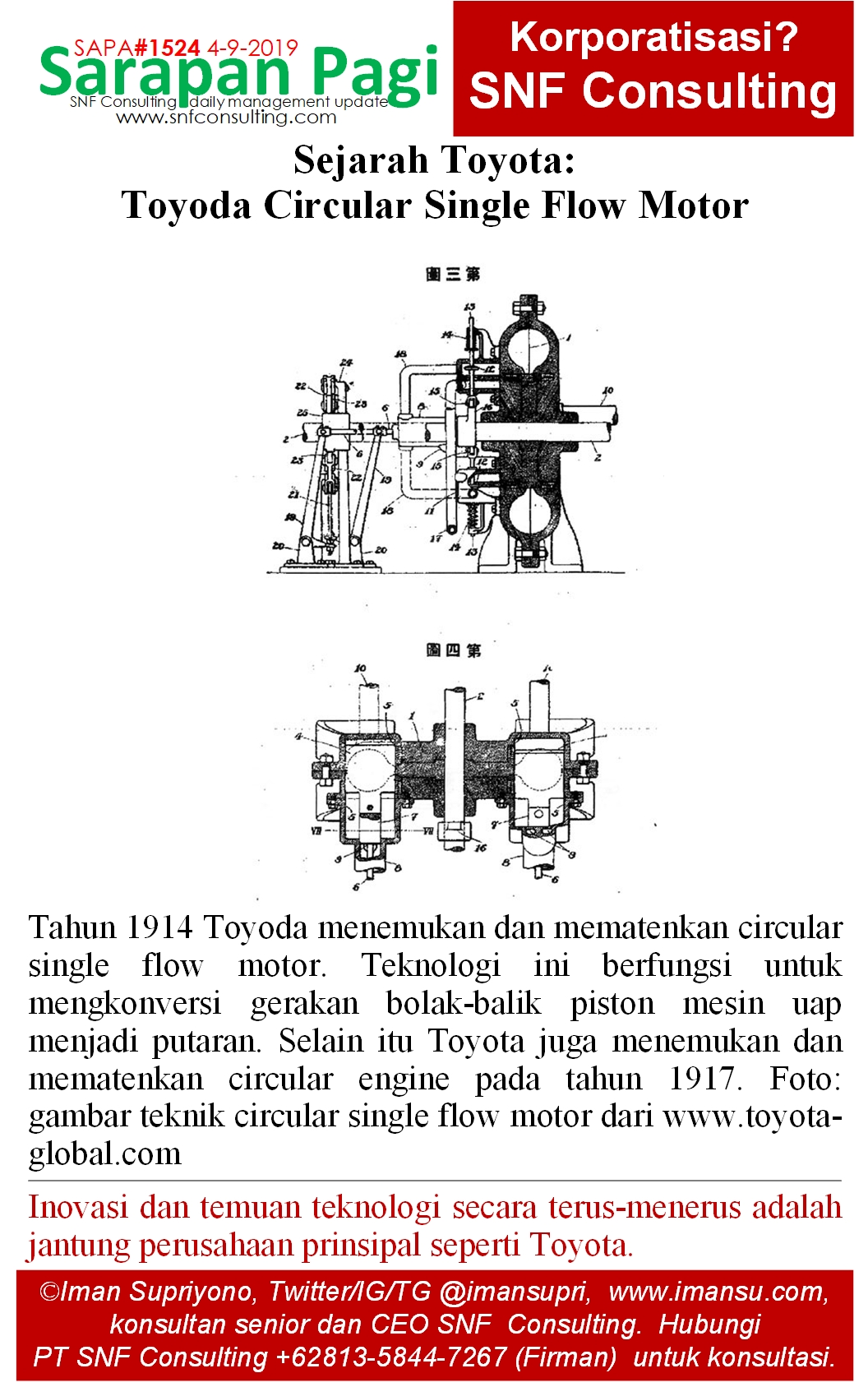 SAPA1524 Sejarah Toyota Toyoda single flow motor