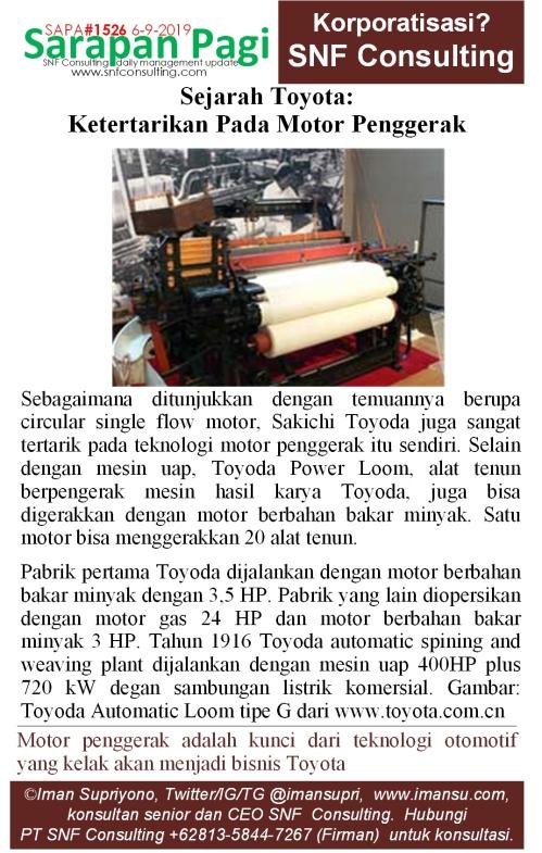 SAPA1526 Sejarah Toyota Ketertarikan Toyoda pada motor bakar