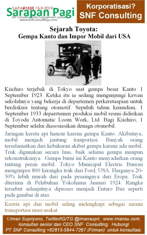 SAPA1535 Sejarah Toyota gempa kanto dan impor mobil dari USA