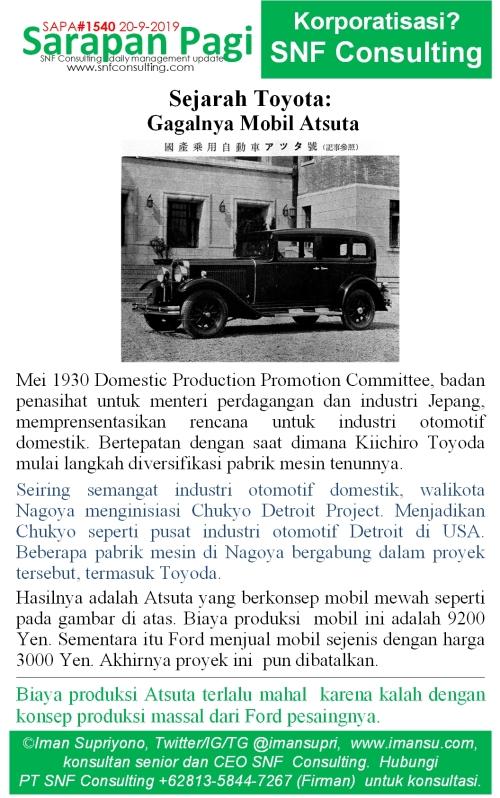 SAPA1540 Sejarah Toyota gagalnya mobil Atsuta