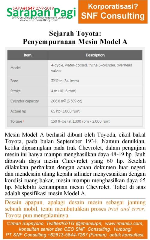 SAPA1547 Sejarah Toyota Penyampurnaan Mesin Model A