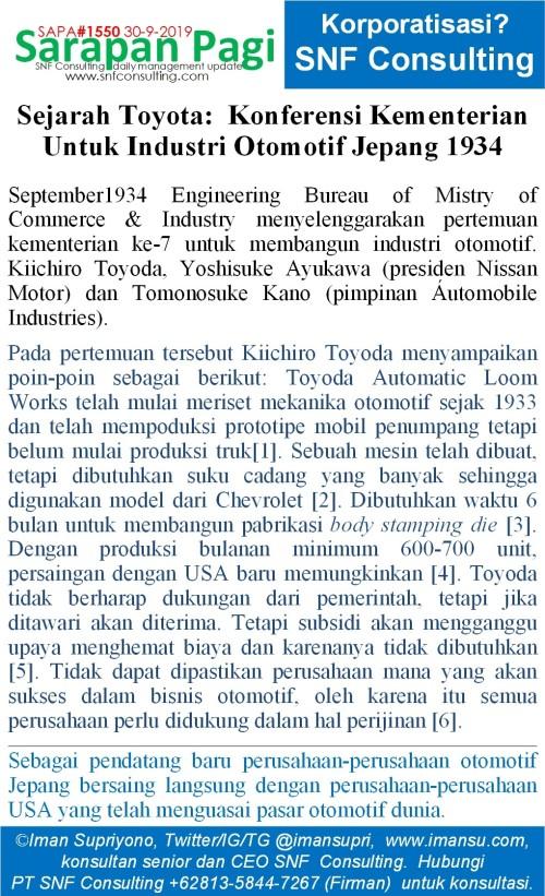 SAPA1550 Sejarah Toyota Konferensi kementerian untuk industri otomotif 1934~2